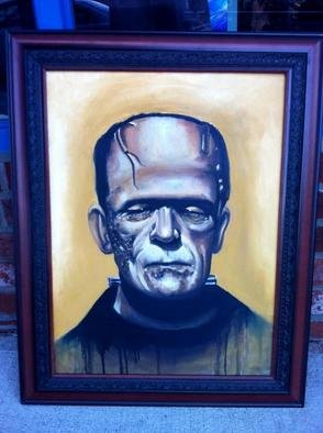 Flaco Garcia Artwork Frankenstein Oil Painting 18x24, 2012 Oil Painting, Television