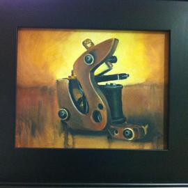 Flaco Garcia: 'Tattoo Machine Oil 8x5', 2012 Oil Painting, Still Life. Artist Description:   Oil Painting of a traditional style tattoo machine in Still Life/ Realism styled art.  Framed 8x5 canvas painting by a New York City up & coming artist.  ...