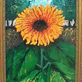 Frank Morrison: 'Resurrection', 2010 Acrylic Painting, Floral. Artist Description:  sunflower, acrylic, yellow, green ...