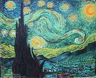 Landscape Acrylic Painting by Frank Morrison Title: Starry night , created in 2010