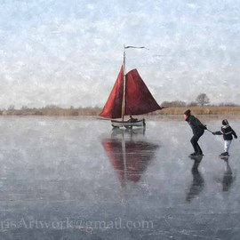 Floris De Mol: 'Skaters with Ice Sailing Vessel', 2012 Other Photography, Landscape. Artist Description:  Photo with oil painting finish.Mentioned price refers to print. Other sizes and printing materials are possible.Limited edition of 5 prints. ...