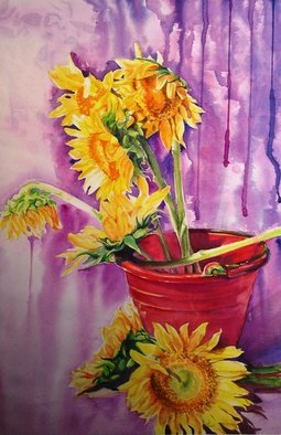 Thinn  Thinn: 'sunflowers', 2014 Watercolor, Floral. Artist Description: flowers, yellow , purple, red...