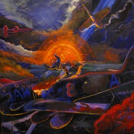 Marcin Regulski: 'Polish victory', 2012 Oil Painting, Aviation. Artist Description:  aEURzPolish victoryaEURJuly 1943. The piloting Bristol Beaufighter by the Polish crew accurately hit the Fw- 190 during the one of night missions aEURzIntruder OperationsaEUR. German pilots survives by desperate emergency jump. Under the hub, the distance range tanks and a bomb, which will not hit the aim, ...