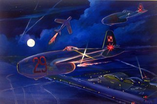 Marcin Regulski: 'The first Jet crafts', 2005 Oil Painting, Aviation.  aEURoeThe first Jet craftsaEURDecember 1950. A pair of Polish Jaks in the flight in groups on one of the military airports moment before a disperse maneuver preceding the entering the circle. The Soviet Mig- aEURtm15 is coming dangerously nearer from East. The pilot of Mig makes a vertical zoom...