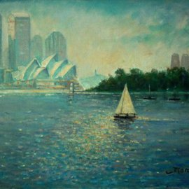 Fred Marsh: 'Into the Light , Cremorne Point, Sydney Harbour ', 2007 Oil Painting, Seascape. Artist Description:  A sailing ship just enters the patch of light as it moves toward the harbour ...