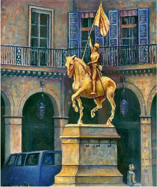 Fred Marsh Artwork Joan of Arc Paris France, 2011 Oil Painting, Cityscape