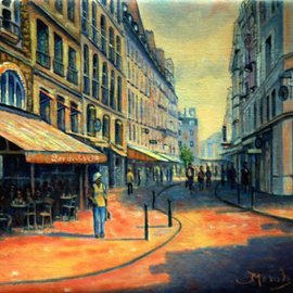 Fred Marsh: 'Rue Buci, Paris', 2011 Oil Painting, Cityscape. Artist Description:  Rue Buci is in the 6th Arrondissement on the left bank, in the heart of St. Germain des Pres. I love this area particularly its liveliness and abundance of markets, cafes and restaurants. It is close to the River Seine and Paris icons such as Notre Dam, Jardin ...