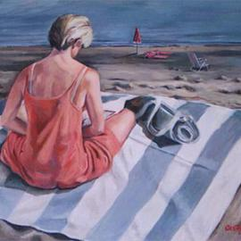 Jodi Castagnozzi: 'Woman Beach', 2005 Oil Painting, Figurative. Artist Description: Jodi Castagnozziwww. castagnozzi. net...