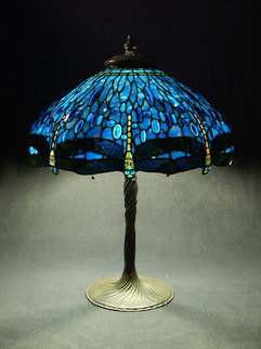 Stained Glass by Lance Foshe titled: 22in Blue Drophead Dragonfly, created in 2013