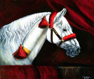 Carol Watroba: 'Maestoso Lipizzan Waiting', 2002 , Equine. Artist Description: Lipizzan Horse Limited Edition of 300 fine art giclee on canvas print using archival inks and clear coat on canvas not stretched or framed. Has about a 1. 5 inch unprinted border on canvas.  Copyright registered and protected. ...