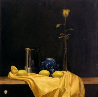 David Thompson: 'yellow rose', 2017 Oil Painting, Still Life. Artist Description: A study in a single colour, trying to capture the delicacy and vulnerability of the natural world...