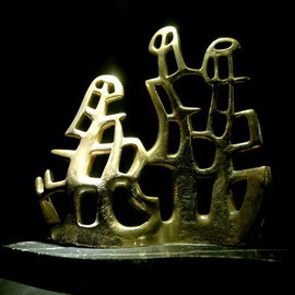 Francesca Bianconi: 'Trees', 2007 Bronze Sculpture, Abstract. Artist Description:  bronze on marble black marquinia ...
