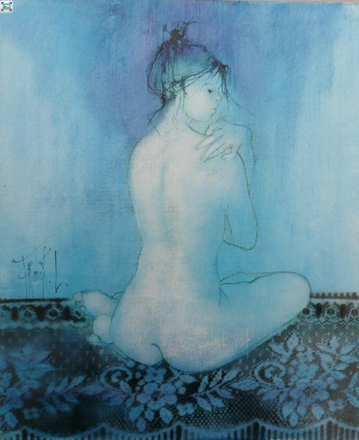Artist Franck Ll. 'Blue Nude ' Artwork Image, Created in 2011, Original Watercolor. #art #artist