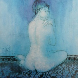 Franck Ll: 'Blue nude ', 2011 Oil Painting, Nudes. Artist Description:                   original oil on rolled canvas                  ...