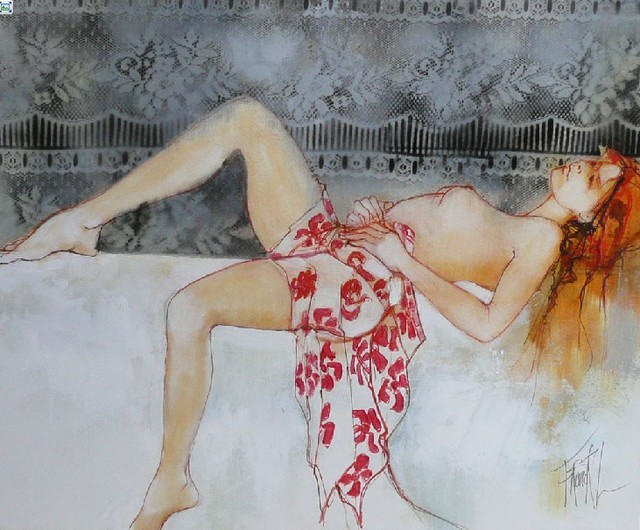 Franck Ll  'Nude Pareo', created in 2011, Original Watercolor.