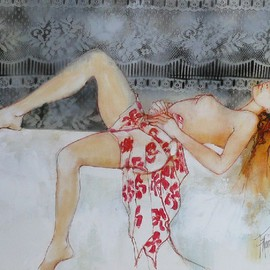 Franck Ll: 'Nude pareo', 2011 Oil Painting, nudes. Artist Description:     original oil on rolled canvas    ...