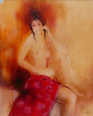 Franck Ll: 'Nude pareo 6150', 2011 Oil Painting, Erotic.               original oil on rolled canvas              ...