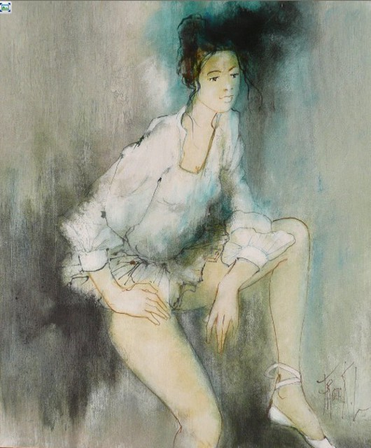 Franck Ll  'Ballerina With White Tutu ', created in 2011, Original Watercolor.
