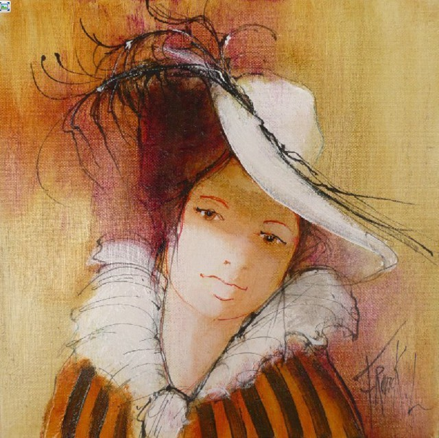 Franck Ll  'Girl With A Hat ', created in 2011, Original Watercolor.