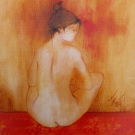 Franck Ll: 'nude 1230', 2011 Oil Painting, Nudes. Artist Description:                    original oil on rolled canvas                   ...