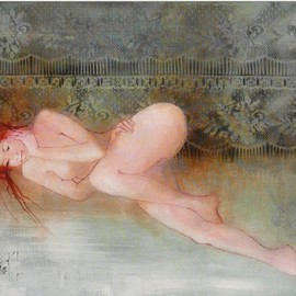 Franck Ll: 'nude 6073', 2011 Oil Painting, nudes. Artist Description:                      original oil on rolled canvas                     ...