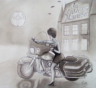 Francois Falet Artwork harlady, 2017 Ink Drawing, Motorcycle