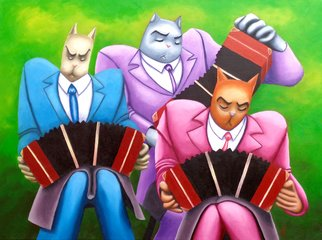 Music Oil Painting by Franco Iturraspe Title: Tres gatos con tres bandoneones, created in 2014