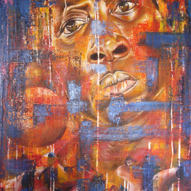 Franklin Ojoo: 'a womans gaze', 2018 Oil Painting, Abstract Figurative. Artist Description: Oil on canvas at an African woman staring ...