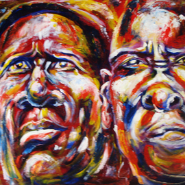 Franklin Ojoo: 'faces', 2016 Acrylic Painting, Abstract Figurative. Artist Description: Acrylic pain on canvas. Elderly Africa Turkana couple faces...