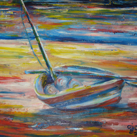 Franklin Ojoo: 'lamu dhow2', 2016 Oil Painting, Boating. Artist Description: Oil paint on canvas of an old Lamu Dhow...
