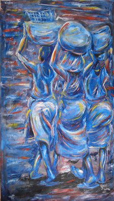 Franklin Ojoo: 'market day 2', 2018 Oil Painting, Abstract Figurative. Artist Description: Oil on canvas of African women coming from the market...