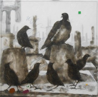 Frans Frengen: 'The protected group', 2016 Other, Home. fumagine, to paint with a flamee on foamboard. Unique work in the world. My habitat all what happens in there....