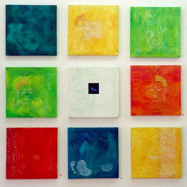Jose Freitascruz: 'jfx5 mandalas mudras and buddhas', 1998 Acrylic Painting, Healing. Artist Description: an icon- like panel that accompanied 'circumambulatio'. based on the same colours of the larger canvases. ...