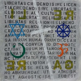 Jose Freitascruz: 're li ga re', 2018 Acrylic Painting, Political. Artist Description: commission for the 44th celebration of the portuguese revolution - freedom of religion - with the charter of the UN in the background. . . ...
