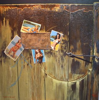 Michael Jones: 'Ducks on the Pond reworked', 2011 Acrylic Painting, Representational.      woolshed gate, girls in bikini, woolshed interior, scratched surface, wooden gate.     ...