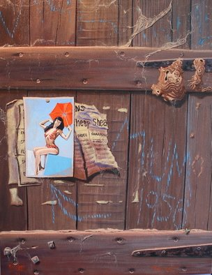 Michael Jones: 'Mum 1956', 2011 Acrylic Painting, Representational.     woolshed gate, girl in bikini, woolshed interior, scratched surface, wooden gate.    ...