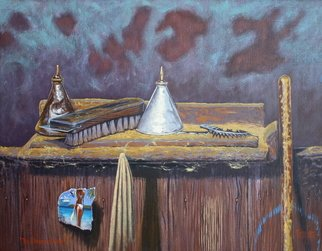 Michael Jones: 'The Shearers Muse', 2011 Acrylic Painting, Representational.   woolshed gate, girl in bikini, woolshed interior, scratched surface, oil cans and brush, broom handle, combs and cutters.  ...