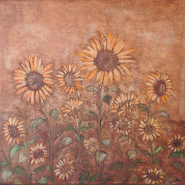 Claudia Frizzarim Artwork Sunflowers, 2007 Acrylic Painting, Floral