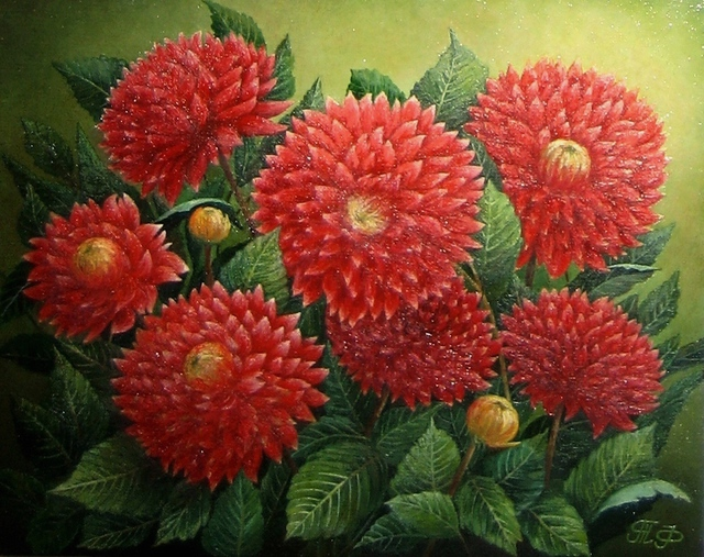 Artist Tatiana Fruleva. 'Dahlias' Artwork Image, Created in 2015, Original Painting Oil. #art #artist