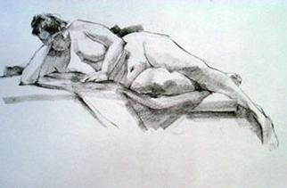 Fred E. Salmon. Jr. Artwork Lying Female Nude, 1999 Charcoal Drawing, Figurative