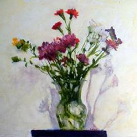 Fred E. Salmon. Jr.: 'Posies', 2000 Oil Painting, Floral. Artist Description: Still life painting of flowers....