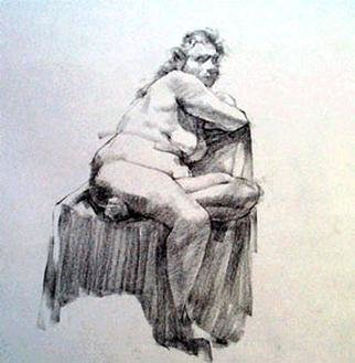 Fred E. Salmon. Jr. Artwork Sitting Female Nude, 1999 Charcoal Drawing, Figurative