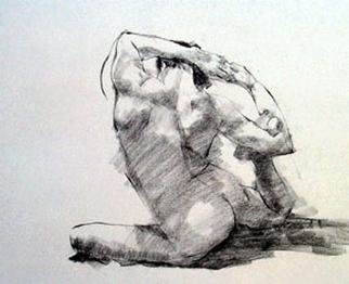 Fred E. Salmon. Jr. Artwork Twisting Nude Male, 1999 Charcoal Drawing, Figurative