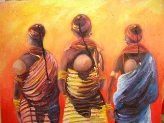 Cyr Antoine Hubert: 'african three of life', 2016 Oil Painting, Children. Artist Description: Afrique enfants et femmes...