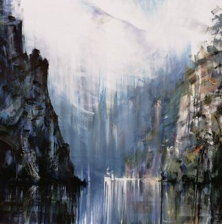 Gabriel Bodnariu: 'danube river', 2017 Oil Painting, Figurative. Artist Description: : River, Water, Danube, Foggy, Mountains, art, gallery, ...