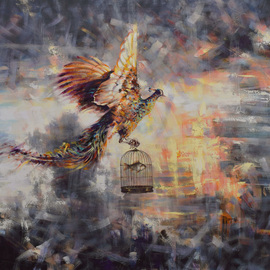 Gabriel Bodnariu: 'the courier', 2016 Oil Painting, Figurative. Artist Description: art, gallery, flying , bird, fish, clouds, light, ...