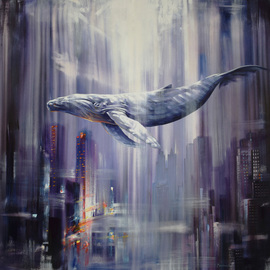 Gabriel Bodnariu: 'the whale', 2018 Oil Painting, Figurative. Artist Description: art, gallery, whale, ocean, water, sky, flying, ...