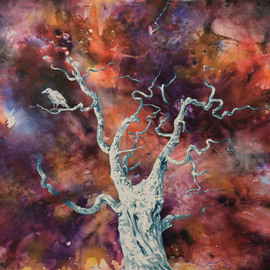 Gabriel Bodnariu: 'the white crow', 2018 Oil Painting, Figurative. Artist Description:  Tree, Sky, Galaxy, Crow, Nebula...