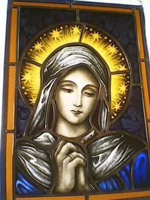 Gabriele Sitzenstock: 'madonna', 2017 Stained Glass, Religious. Artist Description: Madonna, small scale traditional painted stained glass window. I like to try out new techniques or brush up on old once by creating a small scale painted stained glass window inspired by one from the old masters long gone, usually I focus on hands or faces and create ...