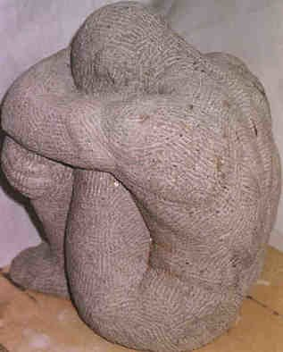 Gaetano Cherubini: 'crouched man', 1998 Stone Sculpture, nudes. Artist Description:  sculpture in stone ( tufo)    ...